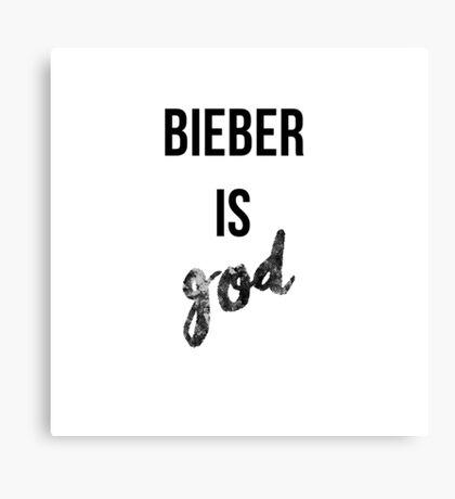 Bieber is GOD (black) Canvas Print