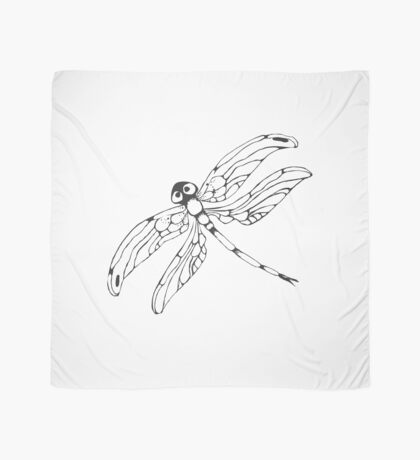 Dragonflie. Hand drawn graphic illustration in black and white Scarf