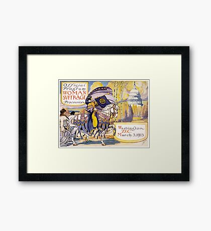 Program for the Women March on Washington 1913 Suffragettes Framed Print