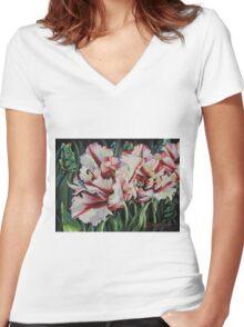Fancy Parrot Tulips Women's Fitted V-Neck T-Shirt