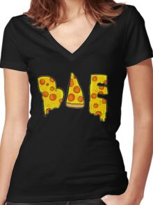 bae is pizza Women's Fitted V-Neck T-Shirt