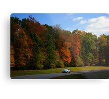 New GMC Arcadia SUV Driving through the fall foliage  on the Natchez Trace Nashville Metal Print
