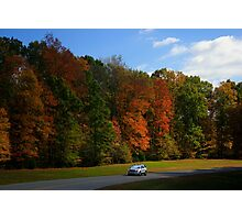 New GMC Arcadia SUV Driving through the fall foliage  on the Natchez Trace Nashville Photographic Print