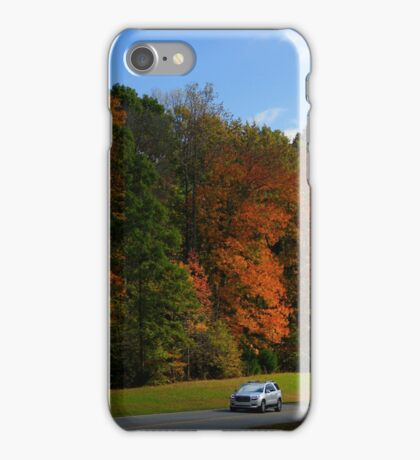 New GMC Arcadia SUV Driving through the fall foliage  on the Natchez Trace Nashville iPhone Case/Skin