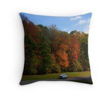 New GMC Arcadia SUV Driving through the fall foliage  on the Natchez Trace Nashville Throw Pillow