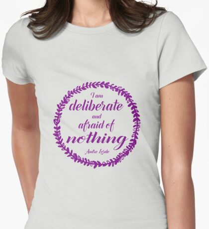 Deliberate and Afraid of Nothing (plum) Womens Fitted T-Shirt