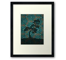 Winter Pine on Gold Embroidered Motif Framed Print