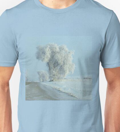 Winter Across The Intersection...On Freezeout Rd. !!!...One Basic Color. Monotone Beauty Challenge Winner ! Unisex T-Shirt