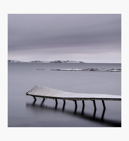Frozen jetty over water Photographic Print