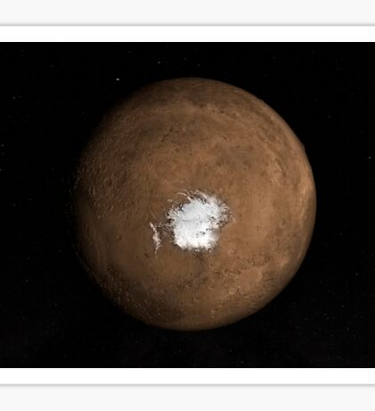 Nadir view of the Martian South Pole.  Sticker
