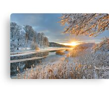 Winter landscape over Storan river Canvas Print