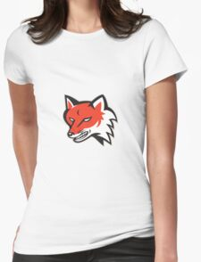 Red Fox Angry Head Retro Womens Fitted T-Shirt