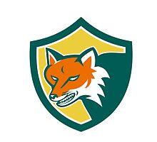 Red Fox Angry Head Shield Retro by patrimonio