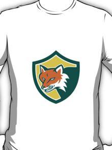 Red Fox Angry Head Shield Retro T-Shirt