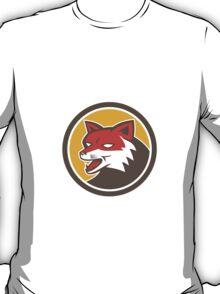 Red Fox Head Growling Circle Retro T-Shirt