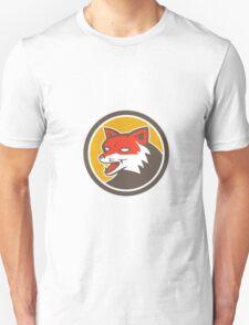Red Fox Head Growling Circle Retro Unisex T-Shirt