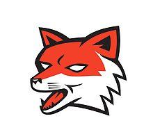 Red Fox Head Growling Retro by patrimonio