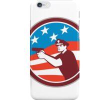 Policeman With Gun American Flag Circle Retro iPhone Case/Skin