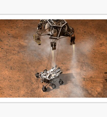 Artist's concept of NASA's Curiosity rover touching down onto the Martian surface. Sticker