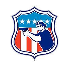 Policeman With Gun American Flag Shield Retro by patrimonio