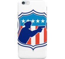 Policeman Silhouette With Gun Flag Shield Retro iPhone Case/Skin
