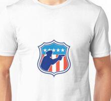 Policeman Silhouette With Gun Flag Shield Retro Unisex T-Shirt