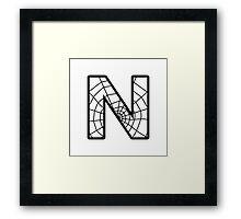 Spiderman N letter Framed Print