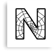 Spiderman N letter Canvas Print