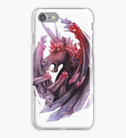 Watercolor crystallizing demonic horse iPhone Case/Skin