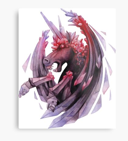 Watercolor crystallizing demonic horse Metal Print