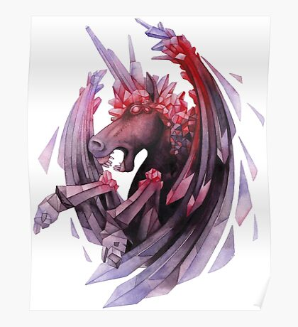 Watercolor crystallizing demonic horse Poster