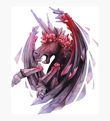 Watercolor crystallizing demonic horse Photographic Print