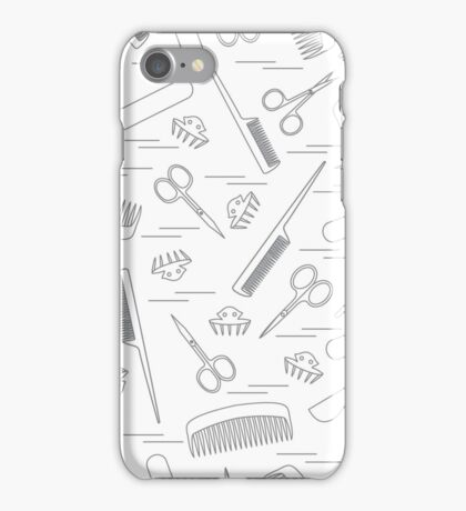 Cute pattern of scissors for manicure and pedicure, combs, nail file, barrettes.  iPhone Case/Skin