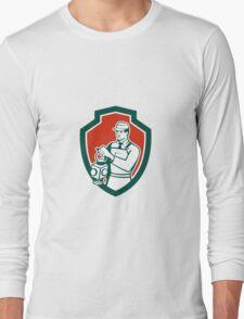 Train Railway Signaller Lamp Shield Retro Long Sleeve T-Shirt