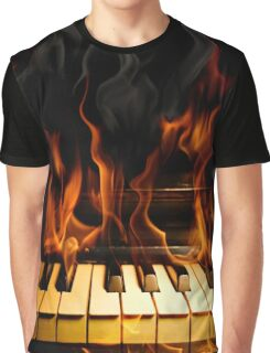 Burning Piano Graphic T-Shirt