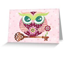 Spring Blossom Owl Greeting Card