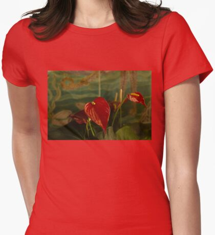 Exotic Tropical Dream Garden - Hot Red Hearts and Sea Creatures Womens Fitted T-Shirt