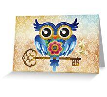 Spring Guardian Owl Greeting Card