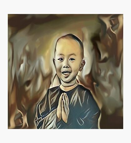 My Creative Design of a Young Buddhist Praying Photographic Print