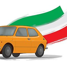 Classic Fiat 127 Illustration with Retro Orange Color and The Italian Flag by ibadishi