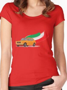 Classic Fiat 127 Illustration with Retro Orange Color and The Italian Flag Women's Fitted Scoop T-Shirt