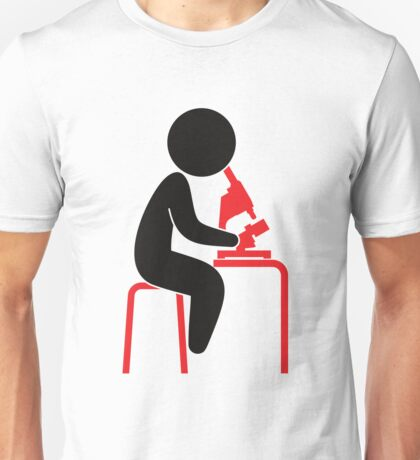 A scientist looks into his microscope Unisex T-Shirt