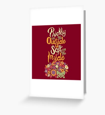 Prickly On The Outside Soft On The Inside Hedgehog Flower Greeting Card