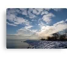 Brilliant Sunshine After the Snowstorm – a Winter Beach on Lake Ontario Canvas Print