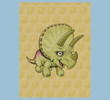 Cute Triceratops with pattern One Piece - Short Sleeve