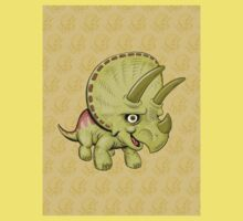 Cute Triceratops with pattern Kids Tee