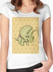 Cute Triceratops with pattern Women's Fitted Scoop T-Shirt