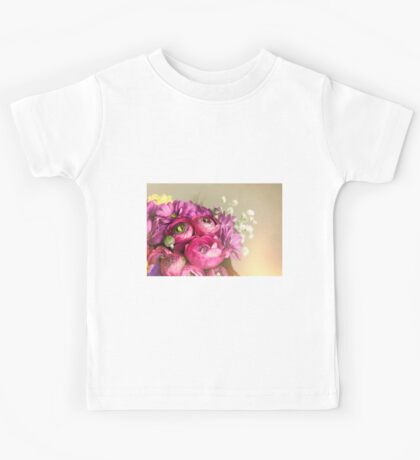 Bouquet of flowers. Romantic postcard background wishes.  Kids Tee