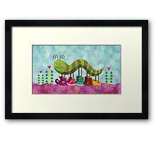 Catty Caterpillar Framed Print