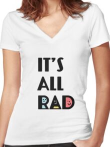 It's All Rad Retro Vintage 1980 Something 1980's Funny Graphic Tee Shirts Women's Fitted V-Neck T-Shirt